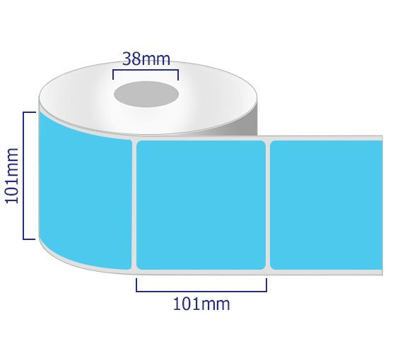 blue permanent labels 101 x 101mm