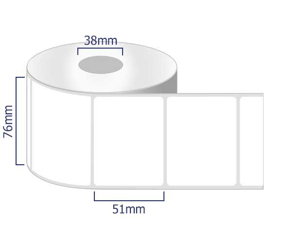 Blank permanent labels on rolls 76mm