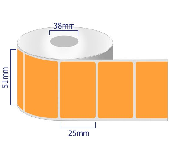 orange permanent labels on rolls 51 x 25mm