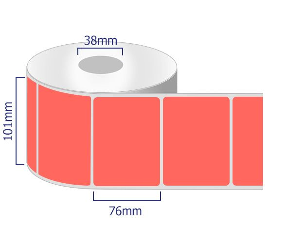 red permanent labels 101 x 76mm