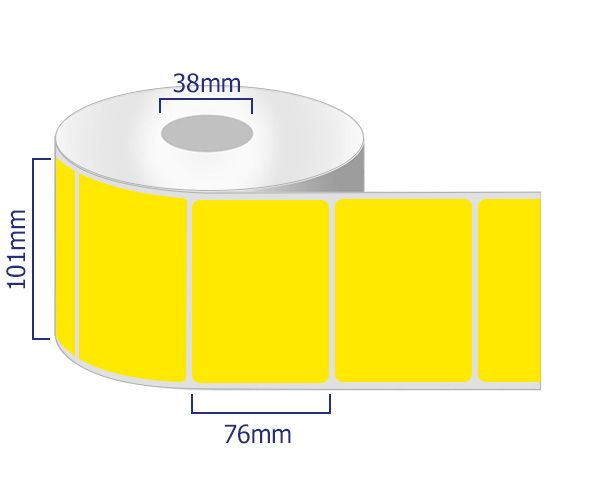 yellow permanent labels on rolls 101mm