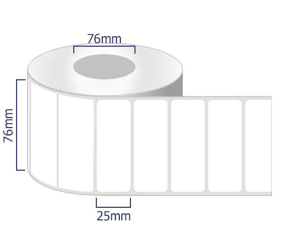 removable labels on rolls 76 x 25mm