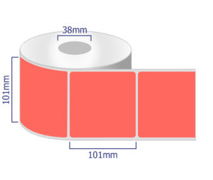 Red coloured thermal labels