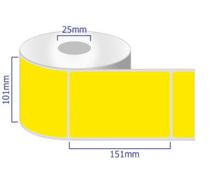 Yellow coloured thermal labels